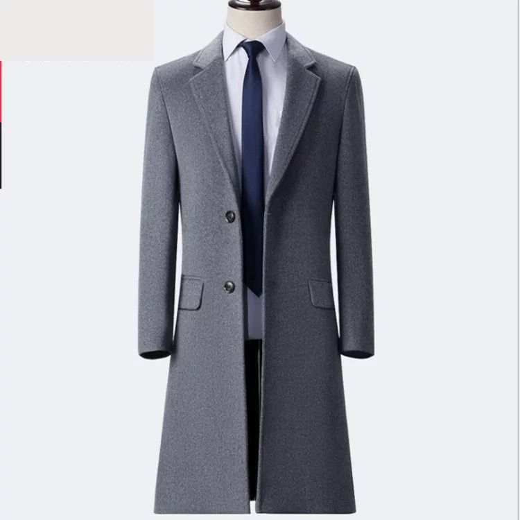 双排扣男大衣