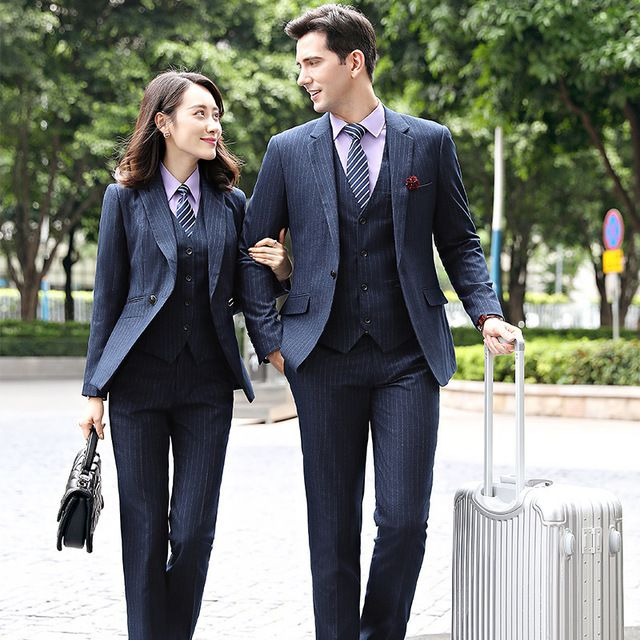 秋冬新款男款商务经理职业套装蓝条纹西服套裤工作服两件套