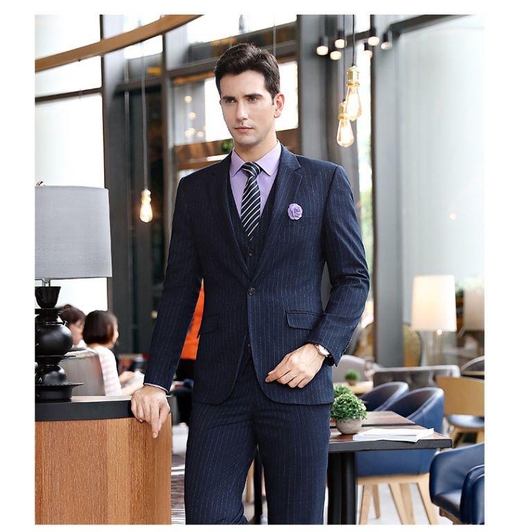 秋冬新款男款商务经理职业套装蓝条纹西服套裤东莞工作服两件套