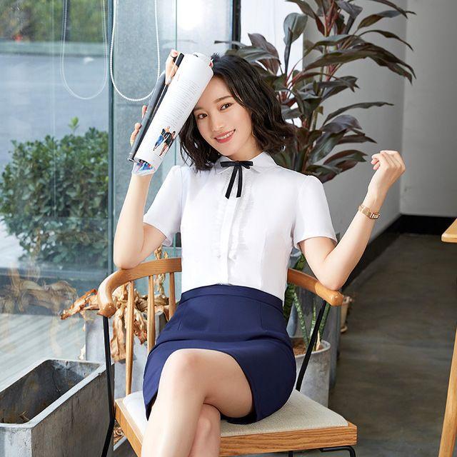 女套装2019夏季新款韩版小领结白衬衣工服