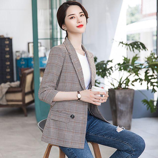 2019春秋新款韩版休闲修身格纹复古小西服