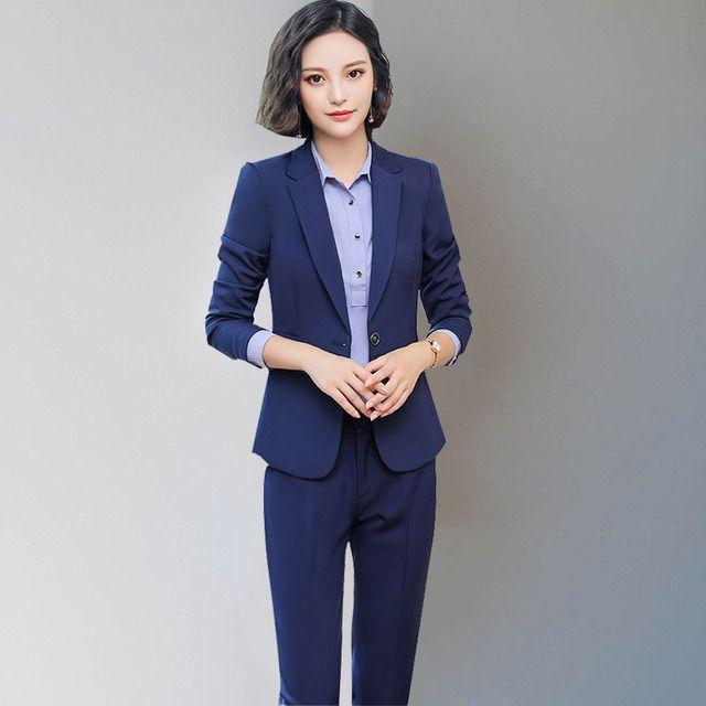 2018秋冬时尚新品西装套装女4S保险行业行政办公人员OL职业装正装
