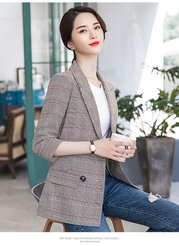 2019春季新款韩版休闲修身格纹复古小西服