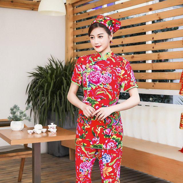 酒店夏装女短袖服务员工作服 东北大花款红色套装