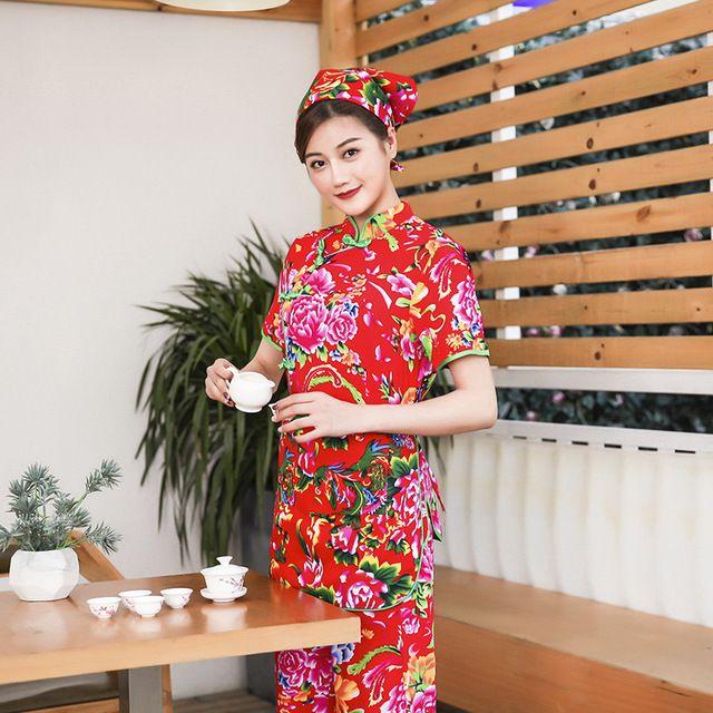 酒店夏装女短袖服务员东莞工作服 东北大花款红色套装