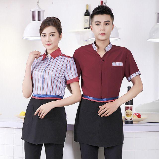 酒店工作服春夏装 女短袖餐饮 火锅饭店 咖啡西餐厅员工作服