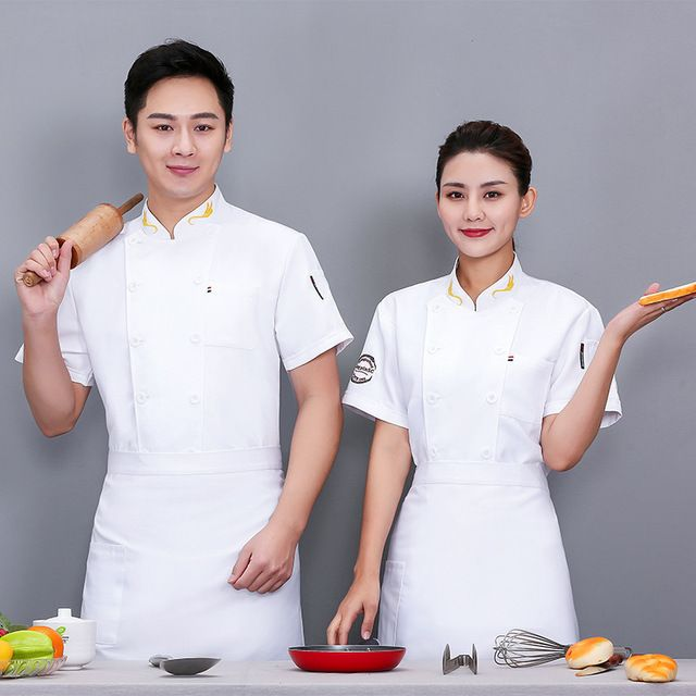厨师工作服短袖 蛋糕店后厨餐饮店男女厨师服 夏季透气薄款酒店食堂