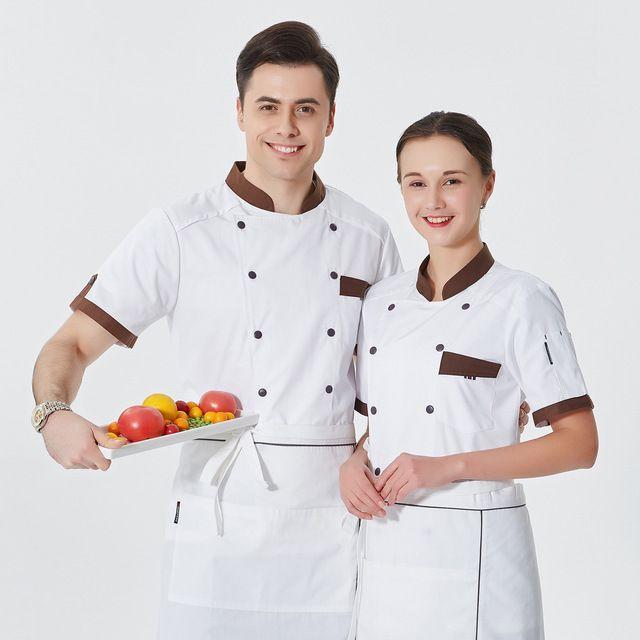 半袖工装 面点烘焙师蛋糕店酒店厨师白色工作服装 中西餐厅后厨工装