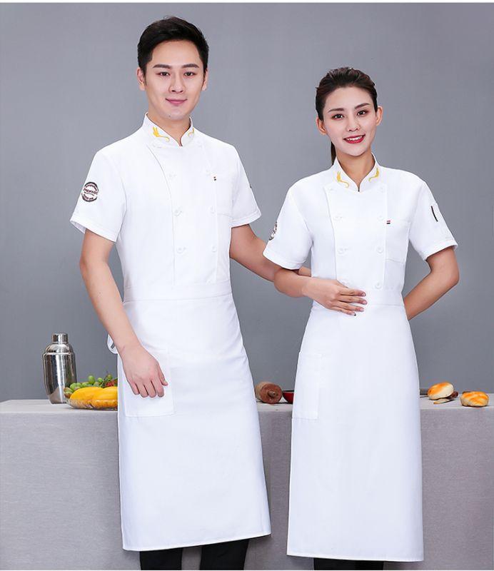 厨师东莞工作服短袖 蛋糕店后厨餐饮店男女厨师服 夏季透气薄款酒店食堂