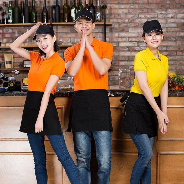 夏季男女东莞工作服T恤 印字logo厨房酒店快餐店餐饮服务员 工衣POLO衫