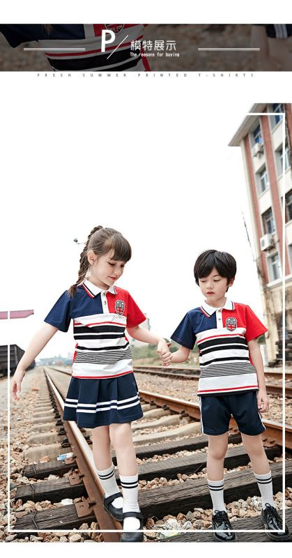 2019夏季幼儿园园服夏装 新款小学生校服 英伦风儿童班服纯棉两件套