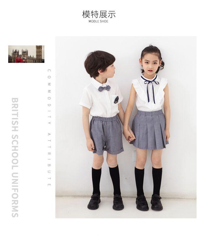 夏季幼儿园园服夏装 学院风小学生校服纯棉套装 儿童班服短袖英伦风