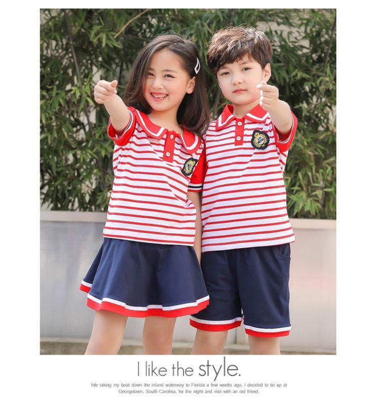 幼儿园园服夏装 学院风男女儿童一年级班服 小学生校服纯棉短袖套装