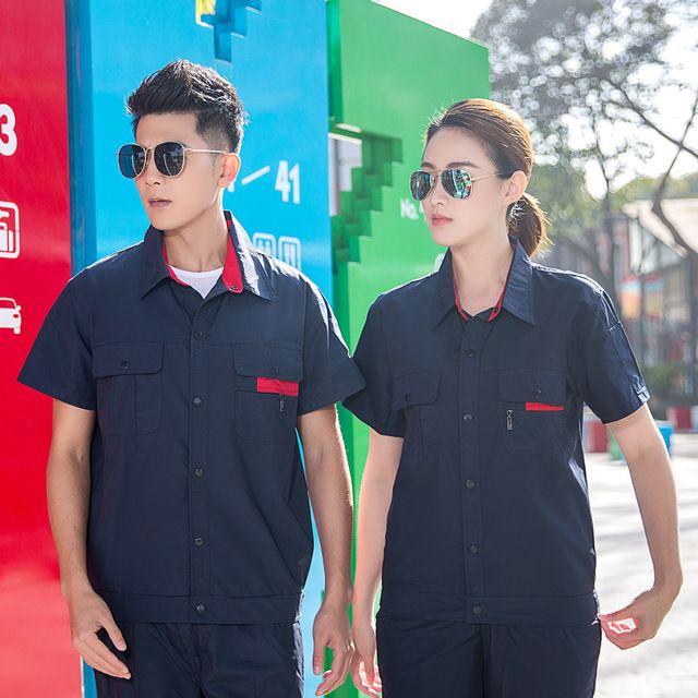 夏季新款 短袖工程服 驾校教练员 工作服 装修工木工技工劳保服