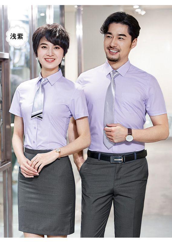 职业装定做 男款新款平纹短袖工装衬衫职业装纯色衬衣工作服正装可绣LOGO