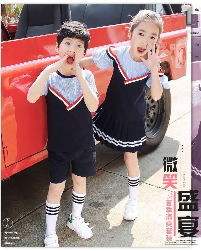 夏季新纯棉幼儿园园服 夏装学院风小学生校服 儿童班服老师短袖套装