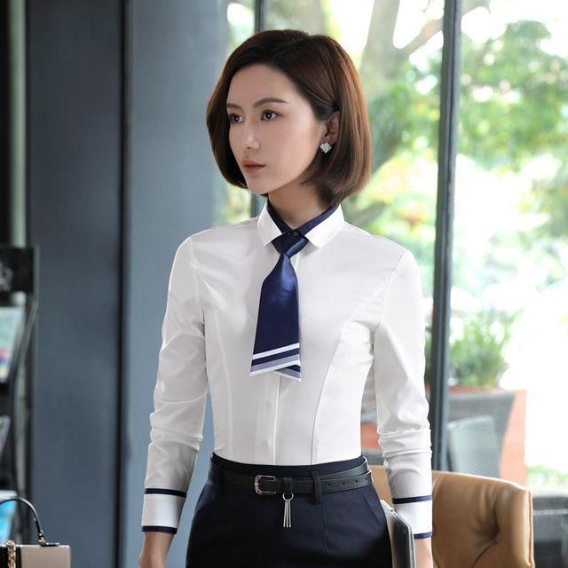 秋冬韩版 百搭修身白衬衫 女士加绒款长袖时尚气质白领职业衬衫