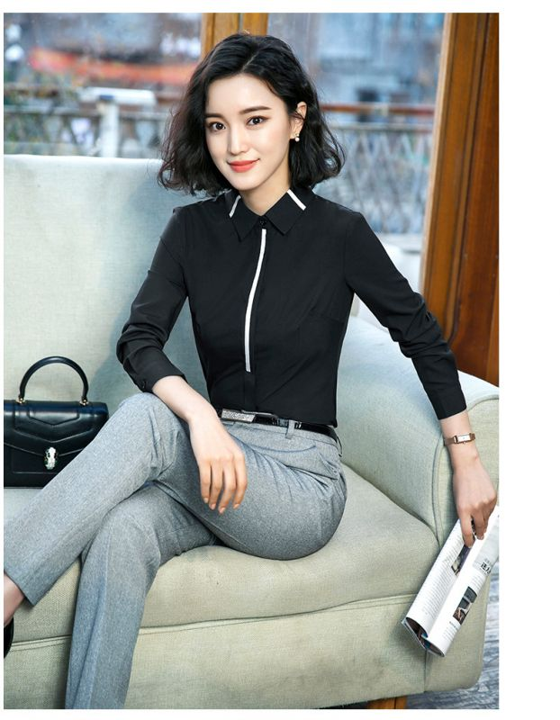 春款衬衣 女新款职业 正装白衬衫 女长袖韩版百搭面试打底衬衫