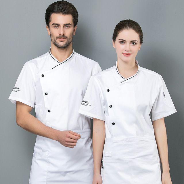 厨师工作服男女短袖夏装 酒店餐厅食堂后厨厨师服 短袖吸汗白色厨衣