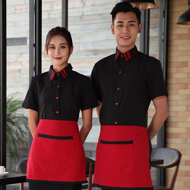 春夏装女西餐厅服务员 工作服短袖饭店快餐火锅奶茶店