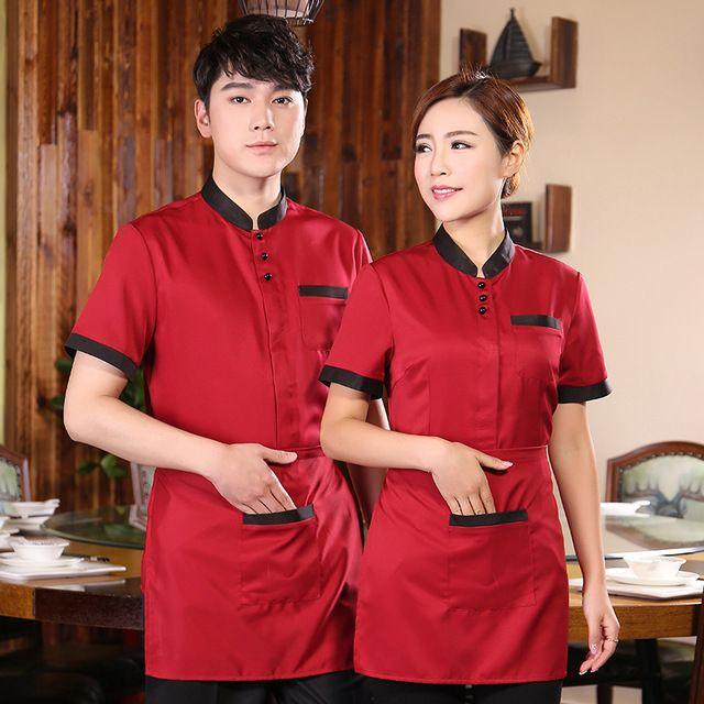夏裝(zhuang)火鍋店 餐廳服務員 服裝(zhuang)長袖中(zhong)式餐飲飯店制(zhi)服短(duan)袖