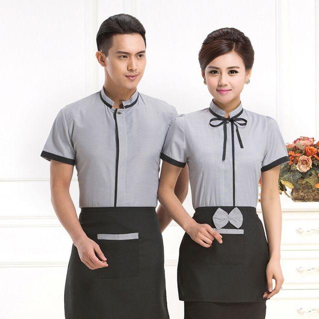 酒店工作服夏裝(zhuang) 女快餐店 奶茶餐飲服務員 工作服夏裝(zhuang) 西(xi)餐廳工服短(duan)袖