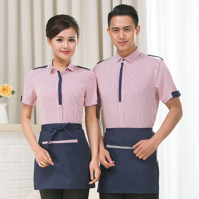 夏裝(zhuang)飯店茶樓 火鍋店服務員男女款短(duan)袖中(zhong)西(xi)咖啡餐廳長袖
