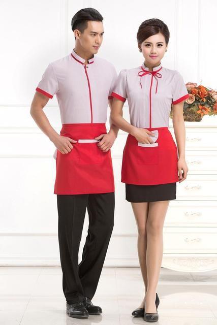 酒店工作服夏装 女快餐店 奶茶餐饮服务员 工作服夏装 西餐厅工服短袖