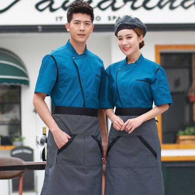 厨师服短袖夏装 酒店厨房半袖后厨男女餐厅厨师长衣服 厨师工作制服