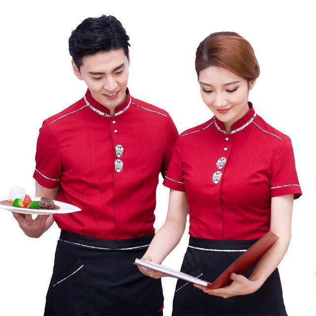 餐饮饭店工作服 咖啡西餐厅火锅蛋糕店服务员酒店工衣 制服夏装男女