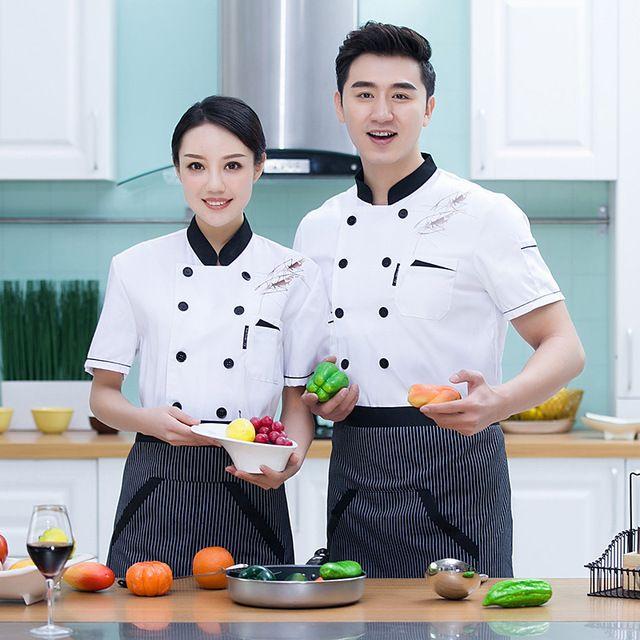 厨师服短袖 透气酒店西餐厅熟食店幼儿园后厨房厨师工作服 夏款男女