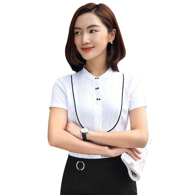 女韩版显瘦修身OL正装工装工作服女士上衣白领面试装职业装白衬衫