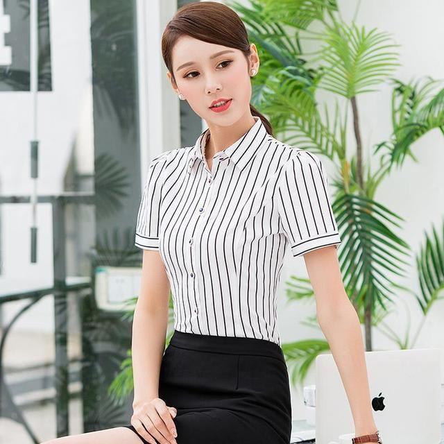 短袖白色衬衫工装女士服务员酒店前台制服KTV衬衣夏季