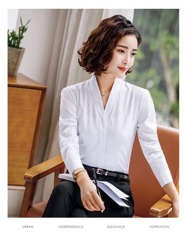 秋装新款时尚职业套装V领修身暗条纹棉质正装工作服 暗扣白衬衫女