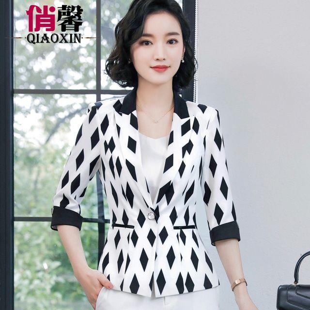 韩版小香风休闲百搭黑白方块OL小西服