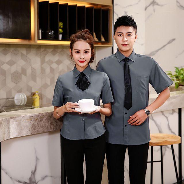 商场营业员工作服 半袖男女衬衫 咖啡馆制服 收银员服装 业务员夏季装